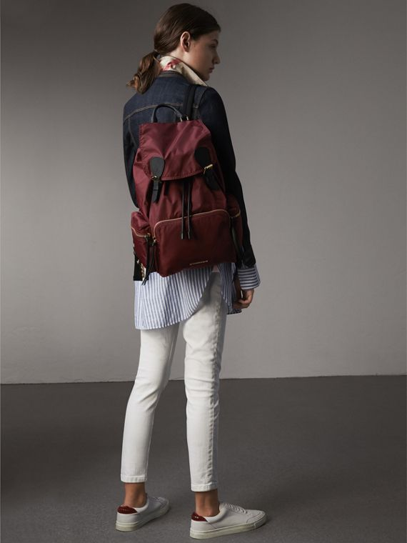 The Large Rucksack in Technical Nylon and Leather in Burgundy Red - Women | Burberry Australia - cell image 3