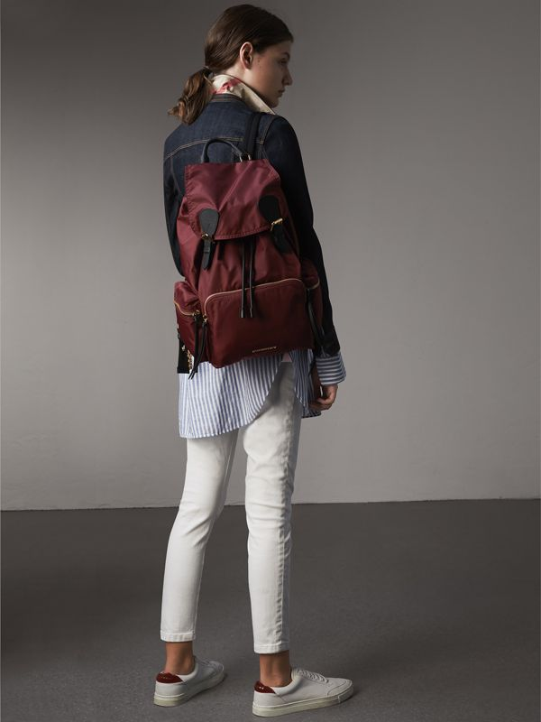 The Large Rucksack in Technical Nylon and Leather in Burgundy Red - Women | Burberry Singapore - cell image 3