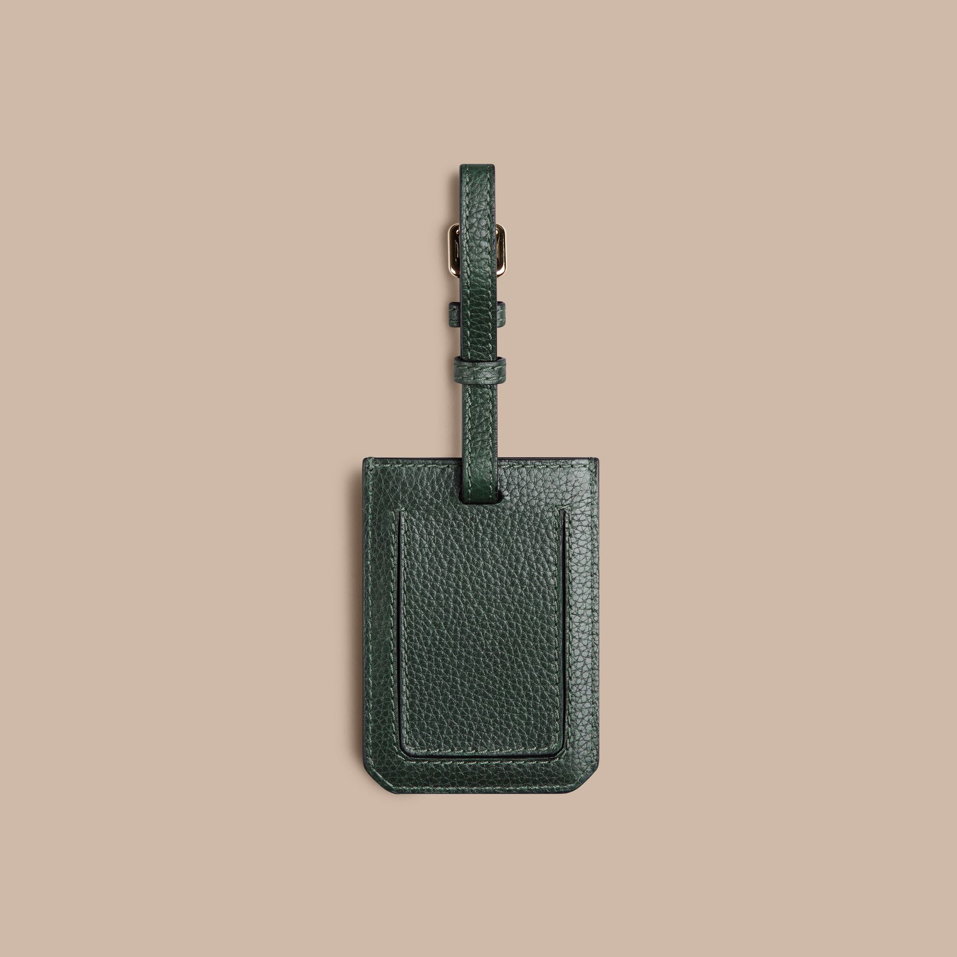 Dark forest green Grainy Leather Luggage Tag Dark Forest Green - gallery image 2
