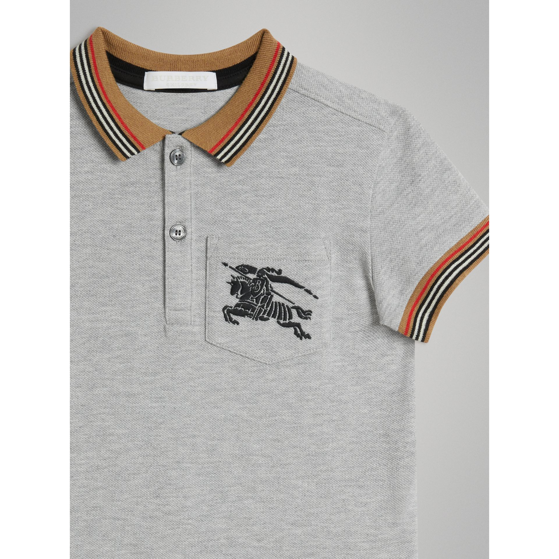 Heritage Stripe Detail Cotton Polo Shirt in Grey Melange - Boy | Burberry United Kingdom - gallery image 4