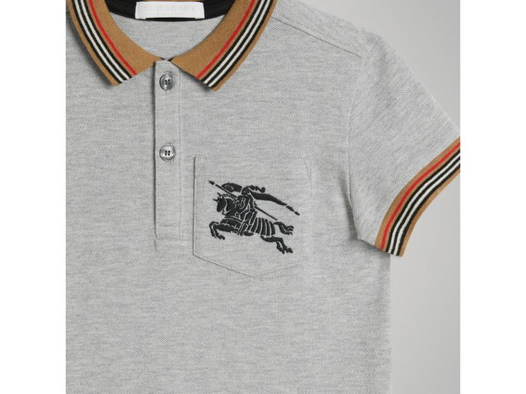 Heritage Stripe Detail Cotton Polo Shirt in Grey Melange - Boy | Burberry - cell image 4