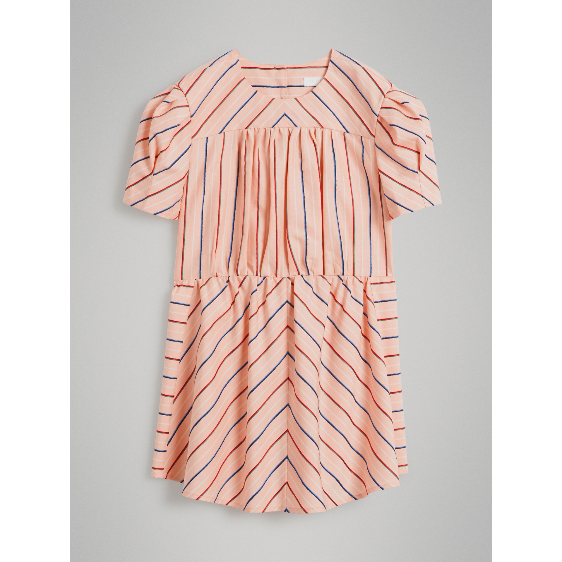 Striped Cotton Silk Panelled Dress in Pale Pink | Burberry - gallery image 0