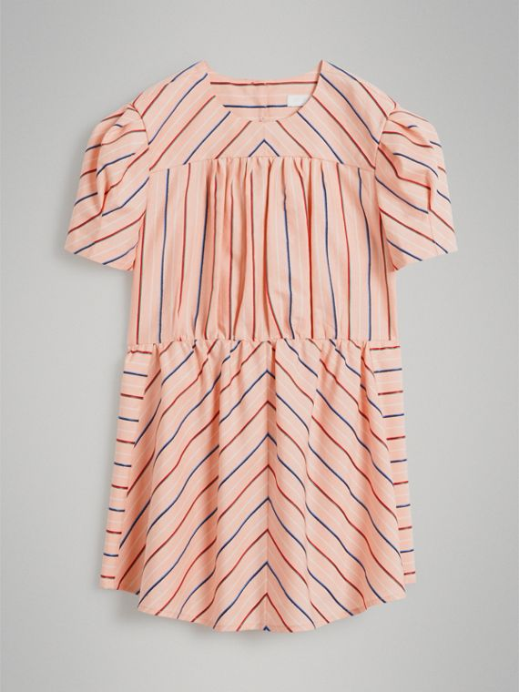 Striped Cotton Silk Panelled Dress in Pale Pink