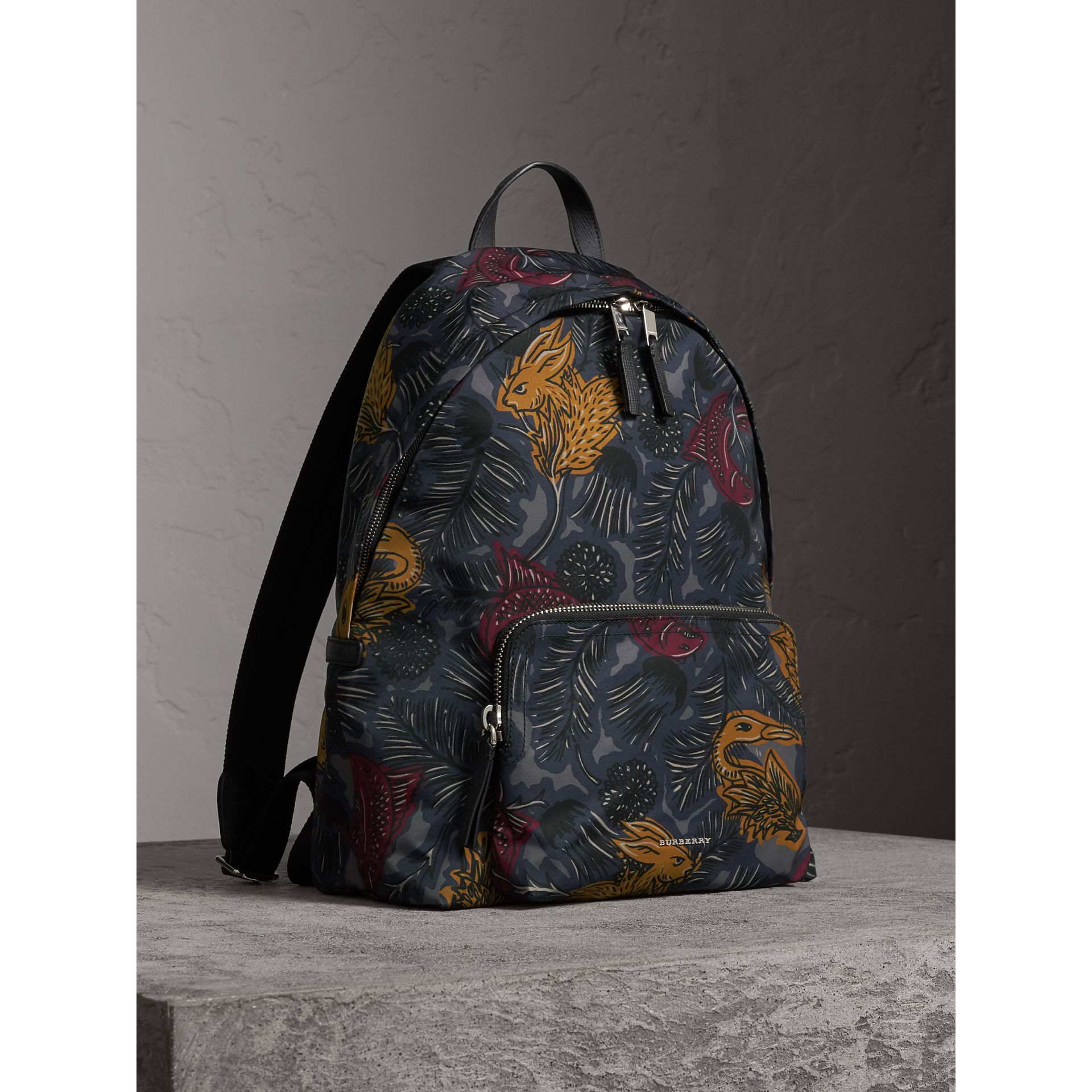 Leather Trim Beasts Print Backpack in Navy Grey - Men | Burberry - gallery image 7
