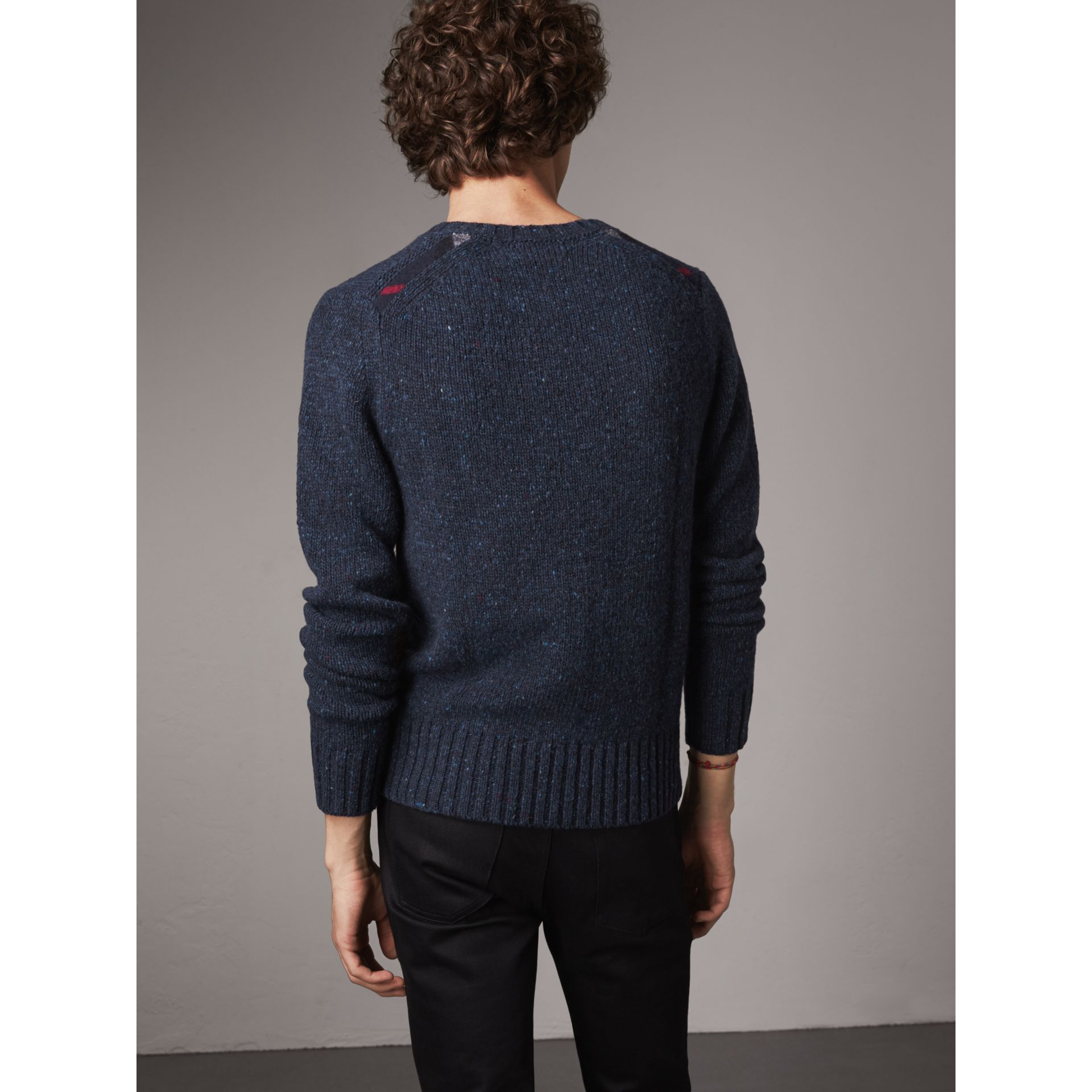 Flecked Wool Cashmere Mohair Sweater in Navy - Men | Burberry - gallery image 3
