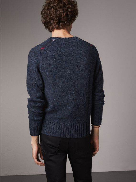 Flecked Wool Cashmere Mohair Sweater in Navy - Men | Burberry - cell image 2