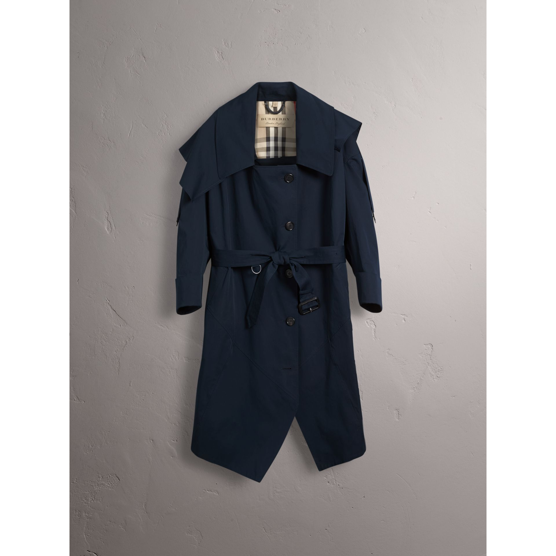 Cotton Asymmetric Trench Coat in Navy - Women | Burberry United States - gallery image 4