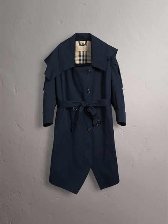 Cotton Asymmetric Trench Coat in Navy - Women | Burberry - cell image 3