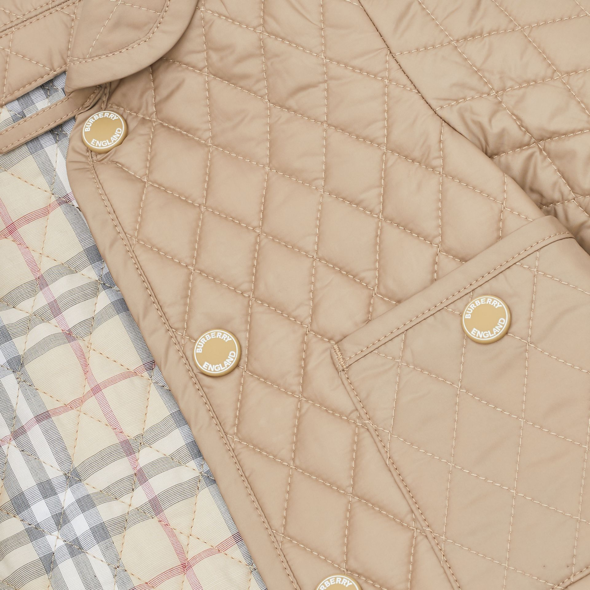 Showerproof Diamond Quilted Jacket in Walnut - Children | Burberry Hong Kong S.A.R - gallery image 1