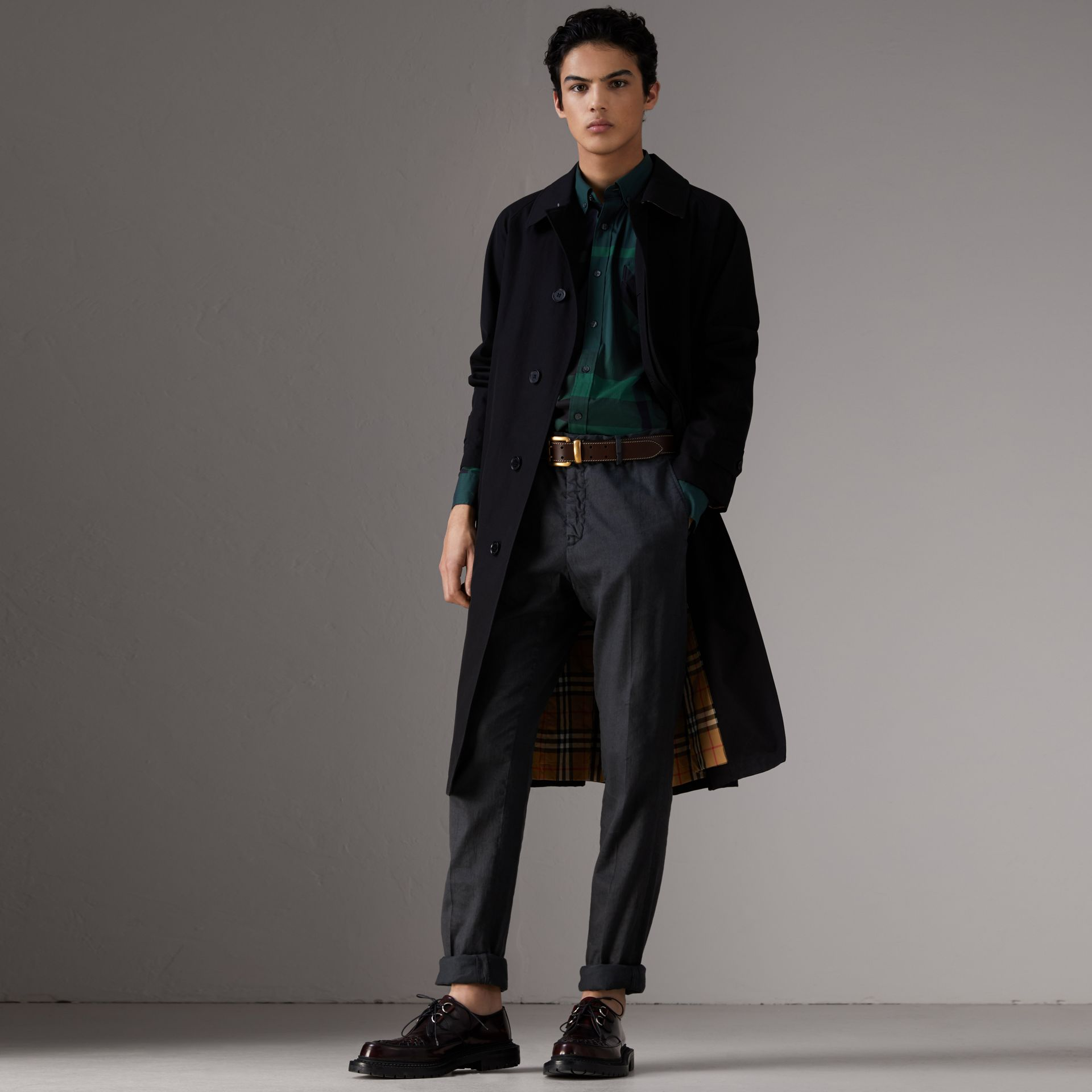Button-down Collar Check Stretch Cotton Blend Shirt in Forest Green - Men | Burberry Hong Kong - gallery image 3