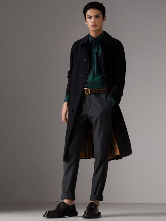 Camicia in misto cotone stretch con motivo tartan e colletto button-down (Verde Foresta) - Uomo | Burberry - cell image 3