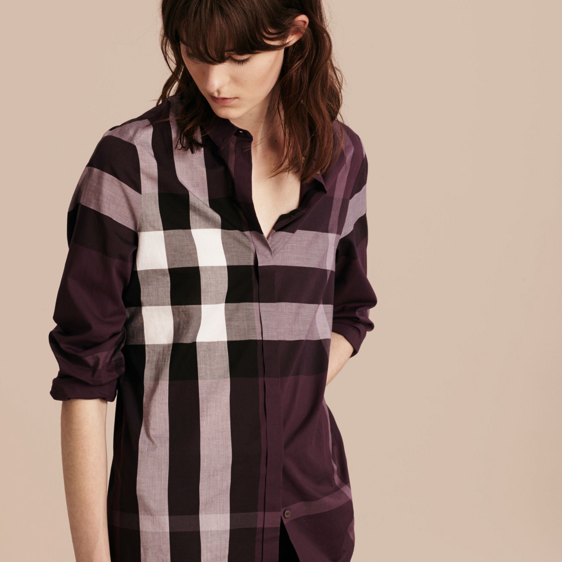 Dark violet Check Cotton Shirt Dark Violet - gallery image 6