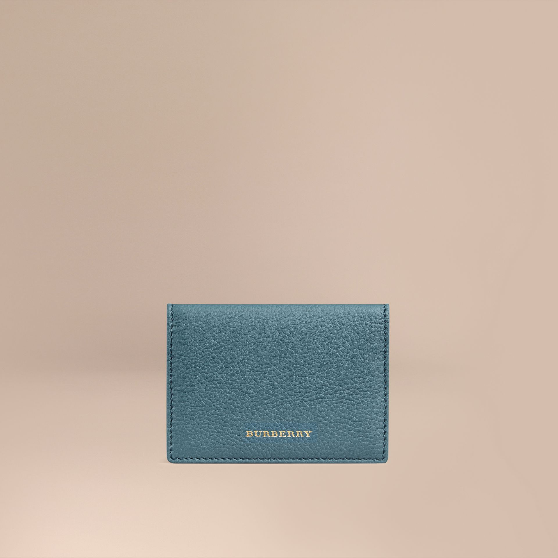 Dusty teal Grainy Leather Card Case Dusty Teal - gallery image 1