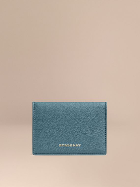 Grainy Leather Card Case Dusty Teal