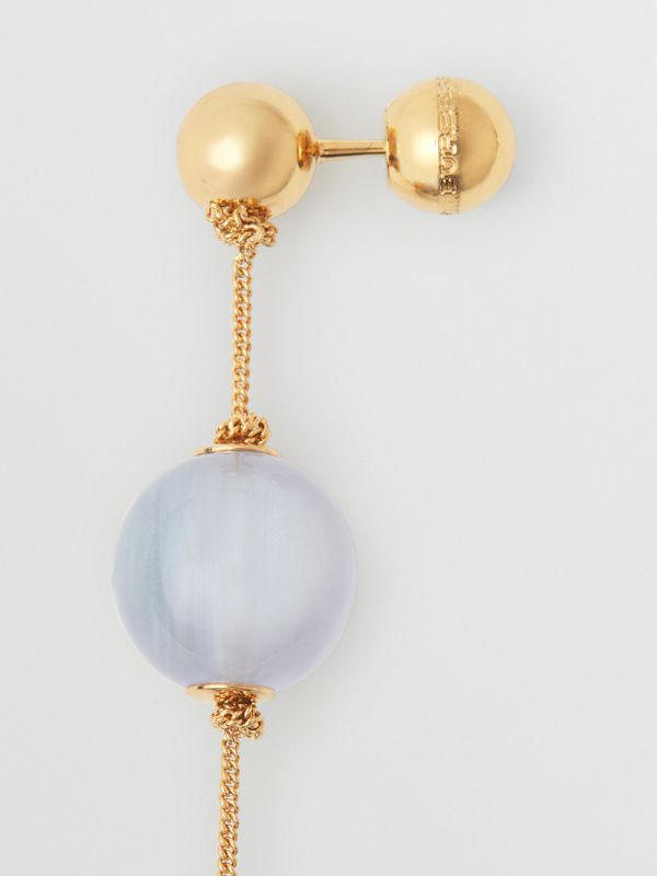 Marbled Resin Gold-plated Drop Earrings in Light Gold/pale Opal - Women | Burberry Australia - cell image 3