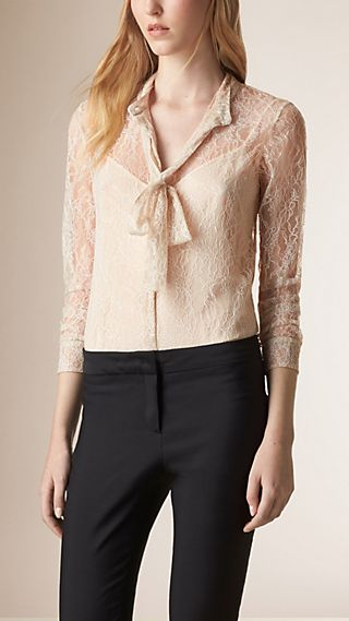 Self-tie Bow Lace Shirt