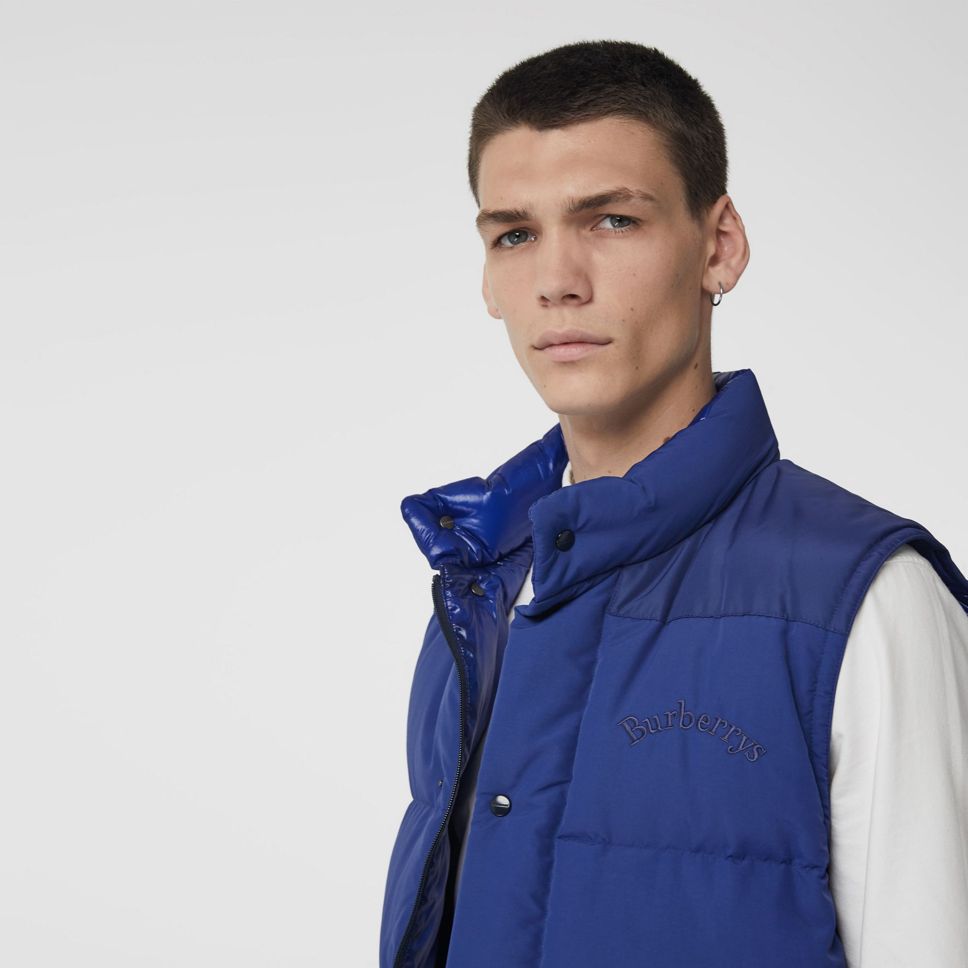Detachable-sleeve Down-filled Puffer Jacket in Bright Blue - Men | Burberry Australia - gallery image 1