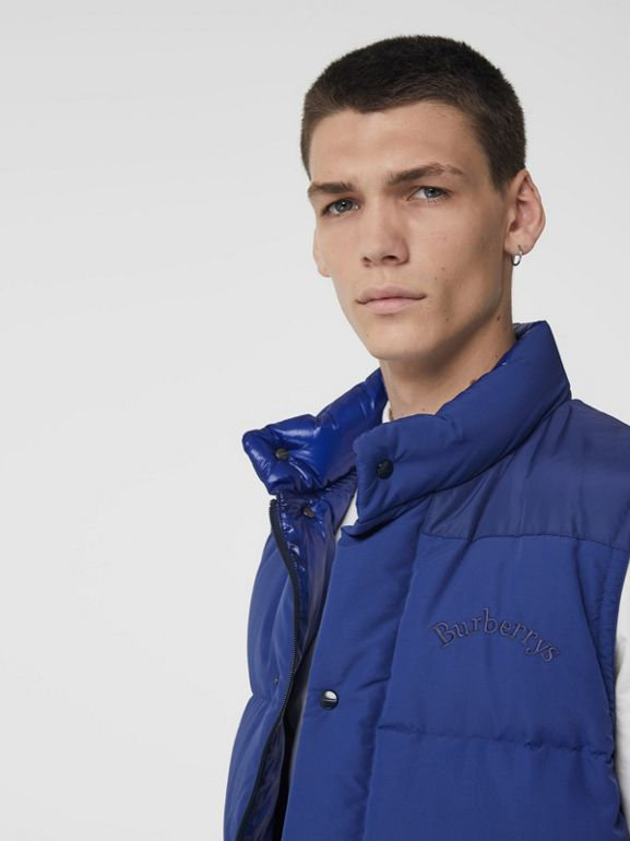 Detachable-sleeve Down-filled Puffer Jacket in Bright Blue - Men | Burberry - cell image 1