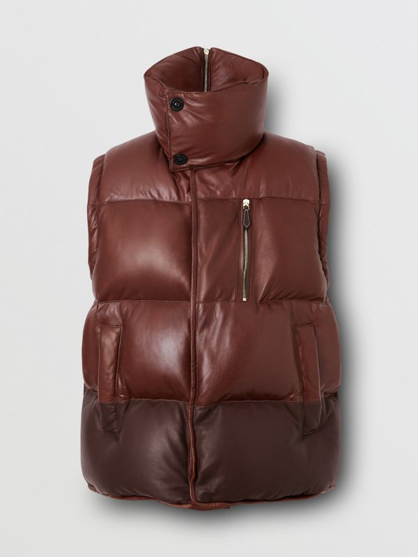 Down-filled Lambskin Puffer Gilet in Dark Mocha - Men | Burberry - cell image 3