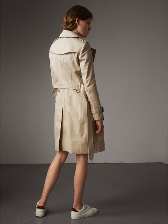 Resin Button Cotton Gabardine Trench Coat in Stone - Women | Burberry - cell image 2