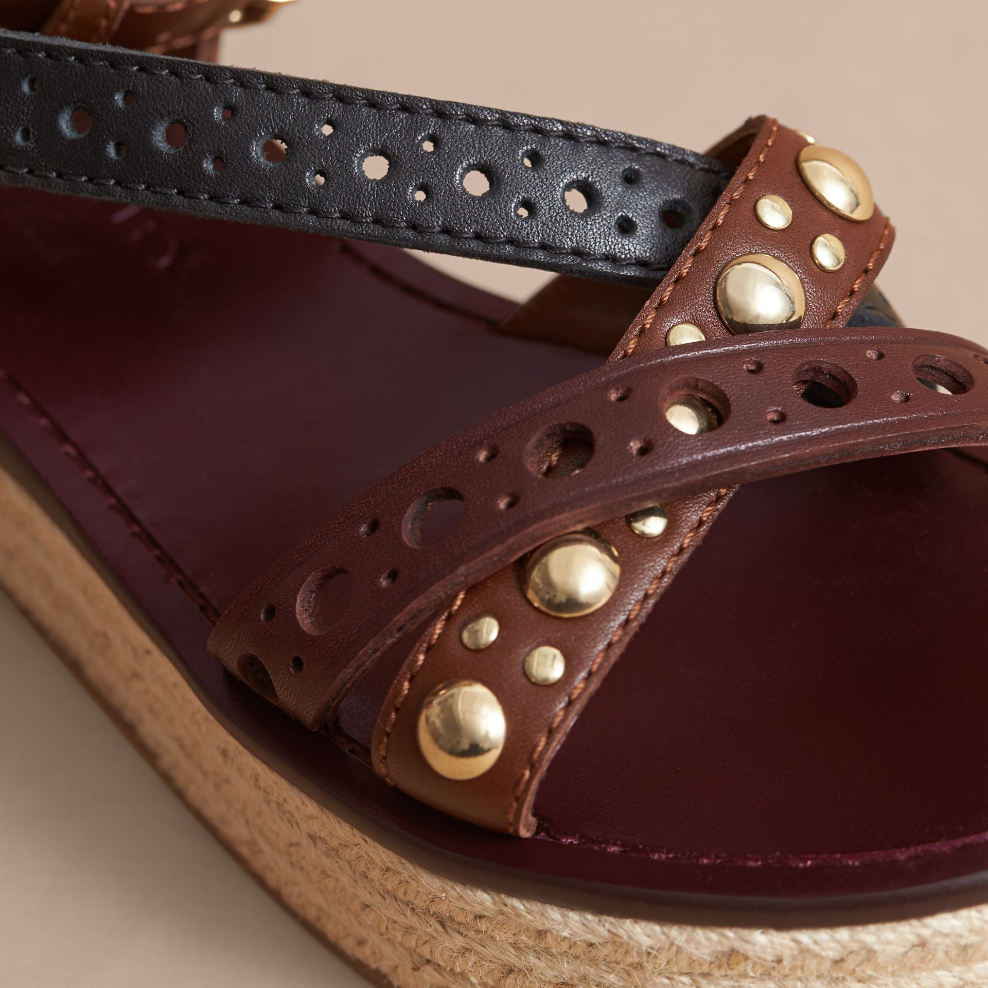 Two-tone Riveted Leather Espadrille Sandals - gallery image 5