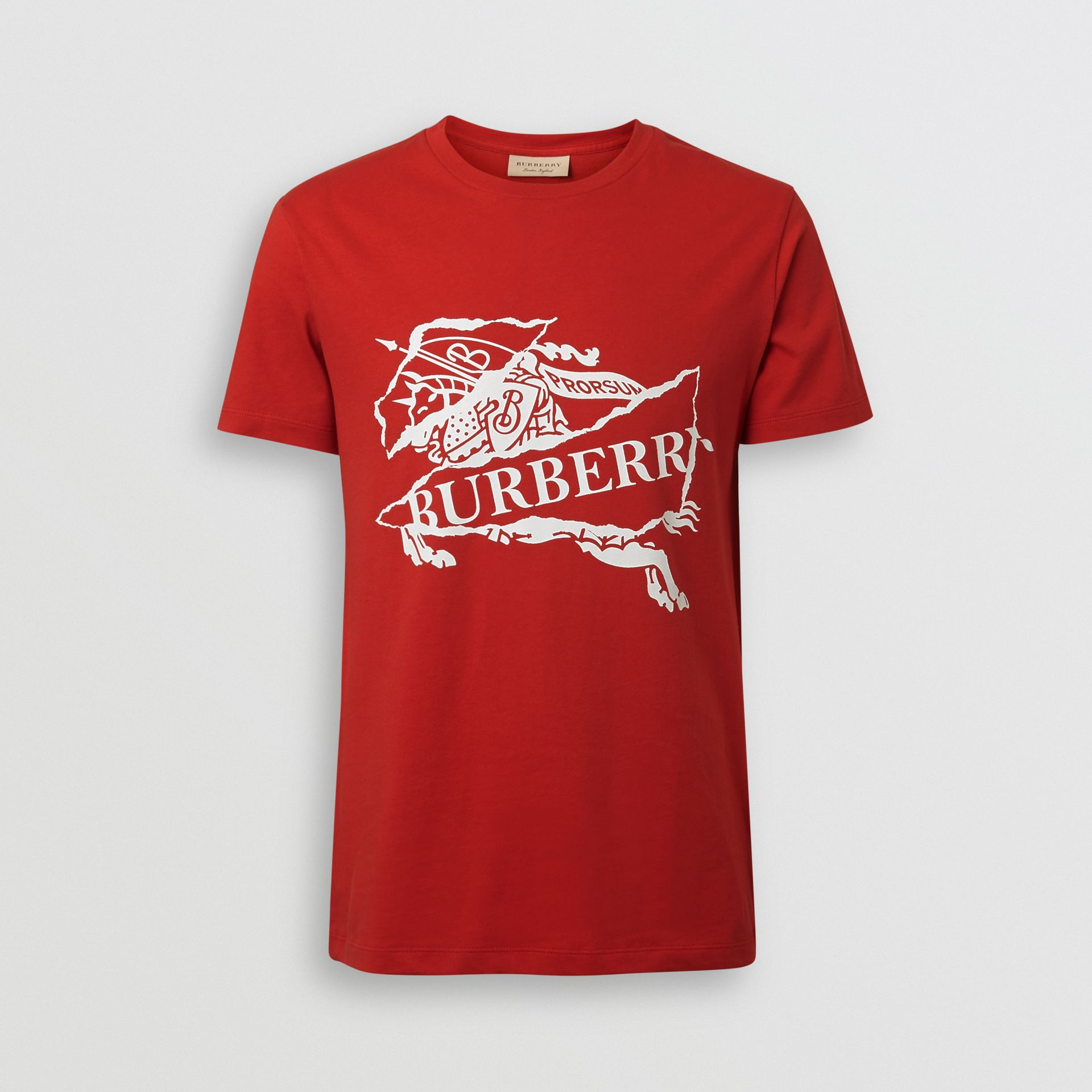 Collage Logo Print Cotton T-shirt in Military Red - Men | Burberry United States - gallery image 3