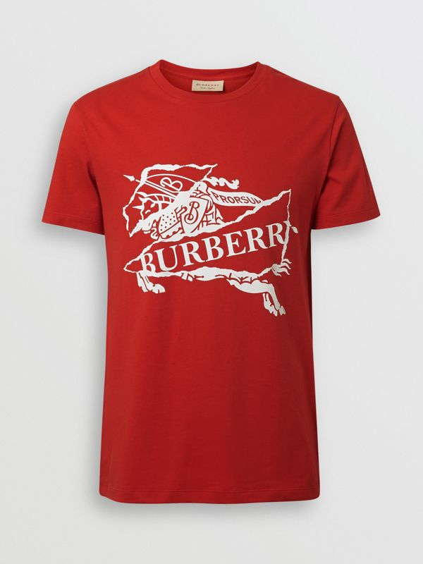 Collage Logo Print Cotton T-shirt in Military Red - Men | Burberry - cell image 3