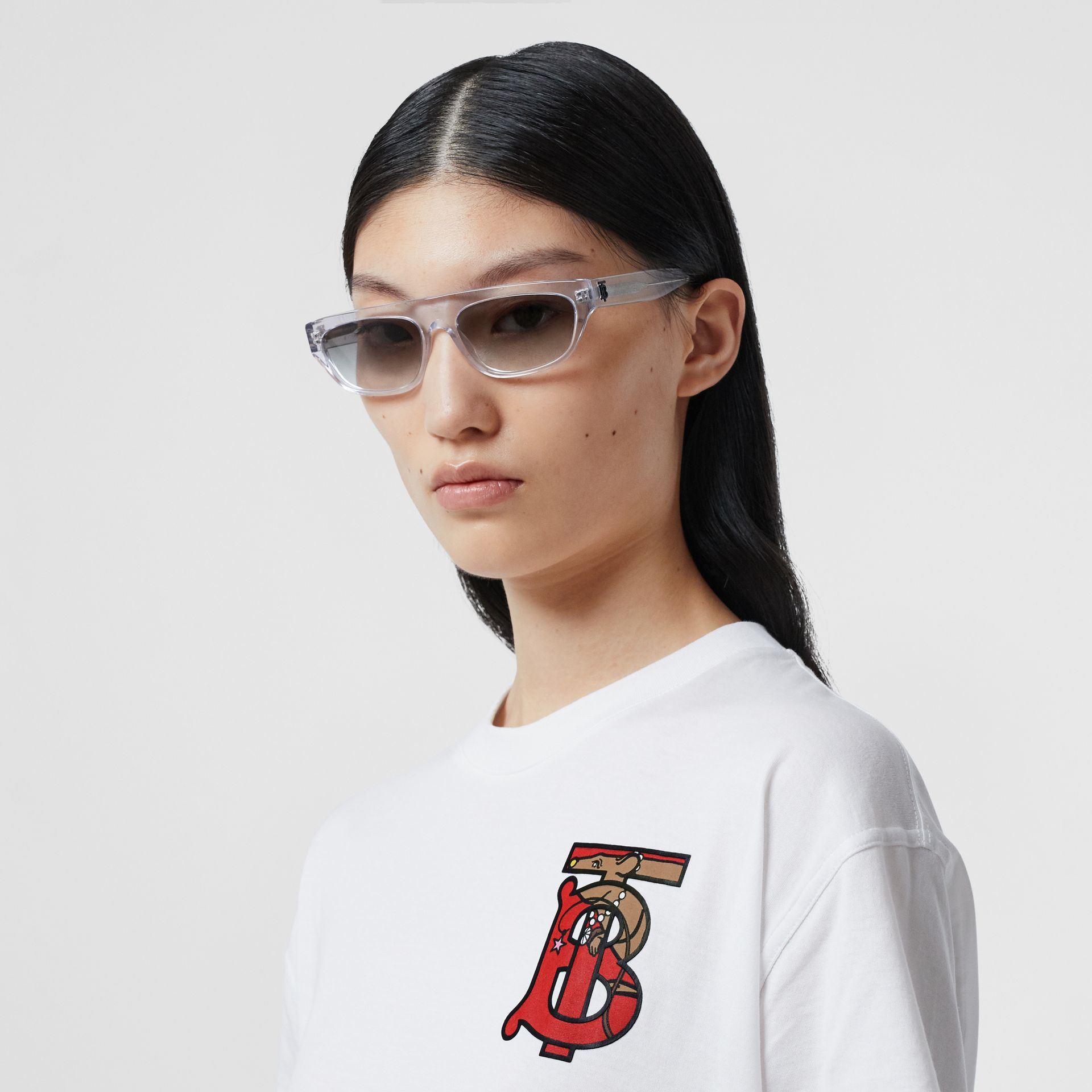 Monogram Motif Cotton Oversized T-shirt in White - Women | Burberry United Kingdom - gallery image 1