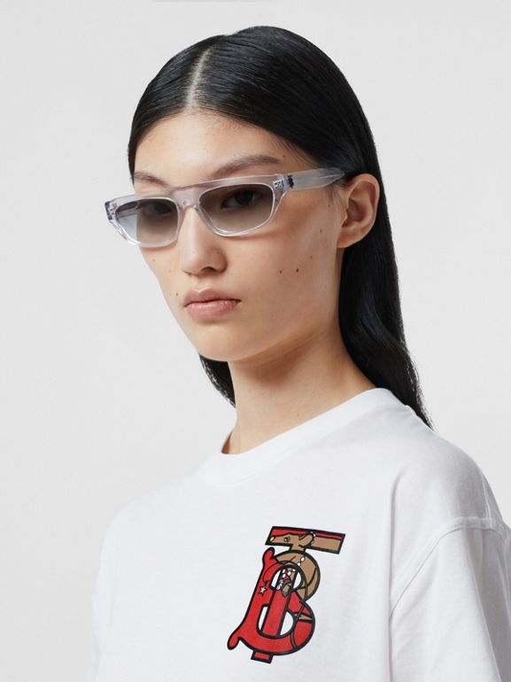 Monogram Motif Cotton Oversized T-shirt in White - Women | Burberry United Kingdom - cell image 1