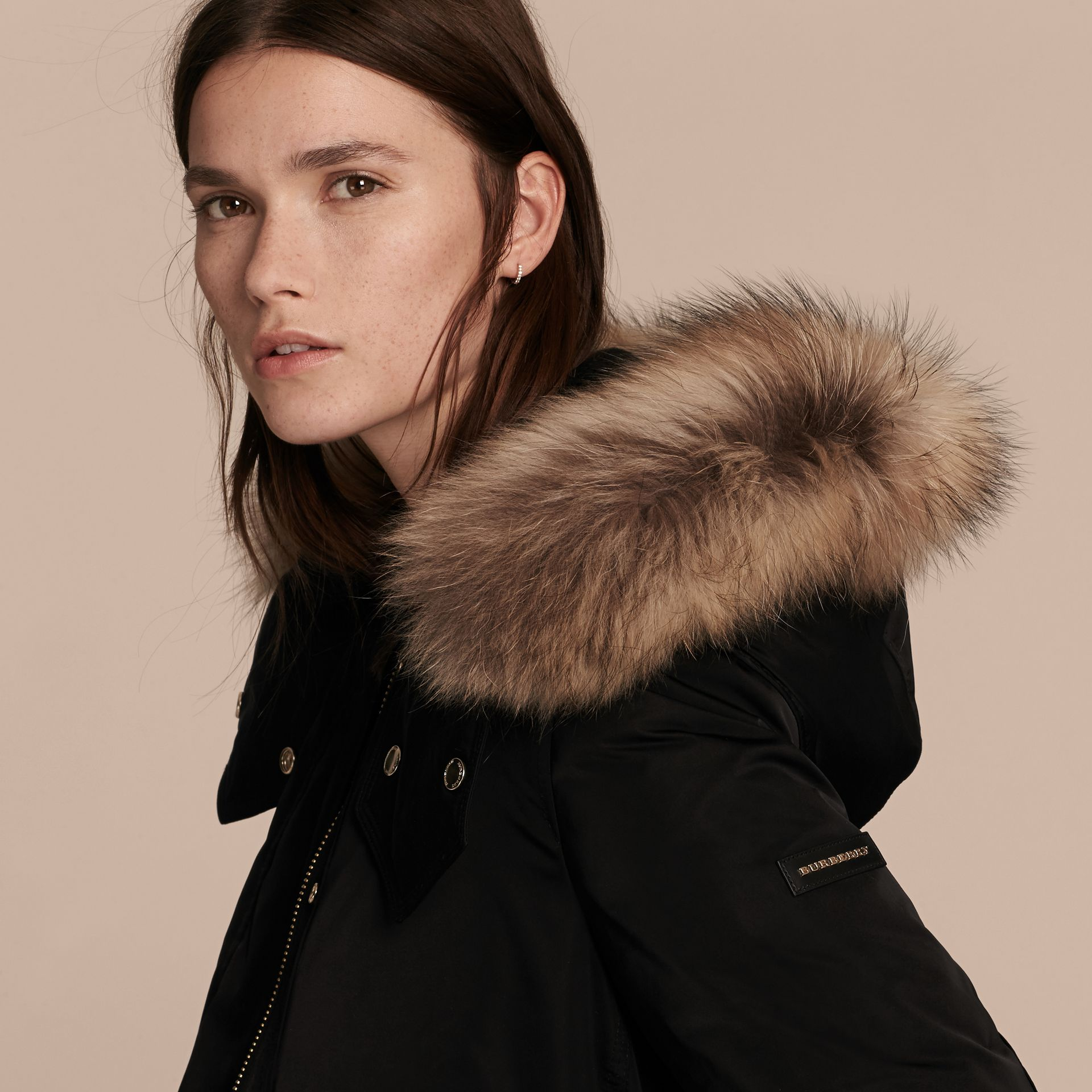 Black Down-filled Parka Coat with Detachable Fur Trim Black - gallery image 6