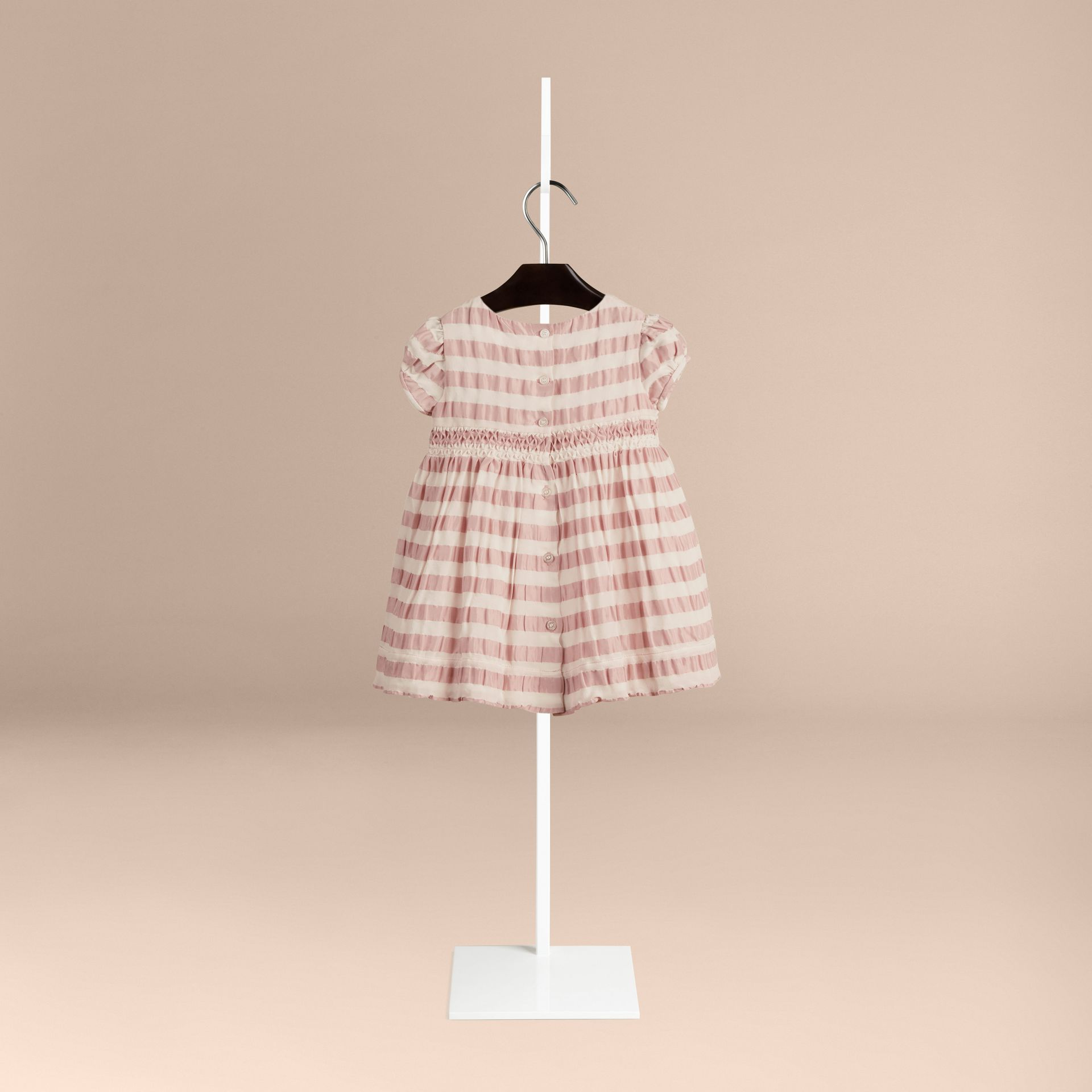Light copper pink Striped Silk and Cotton Dress - gallery image 2