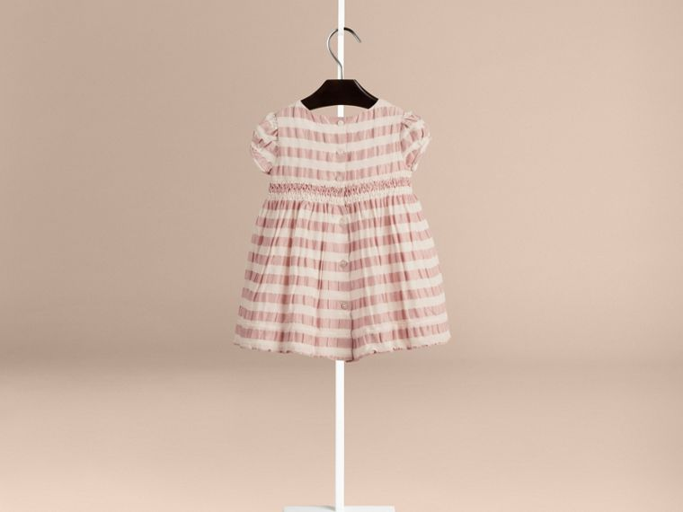 Light copper pink Striped Silk and Cotton Dress - cell image 1