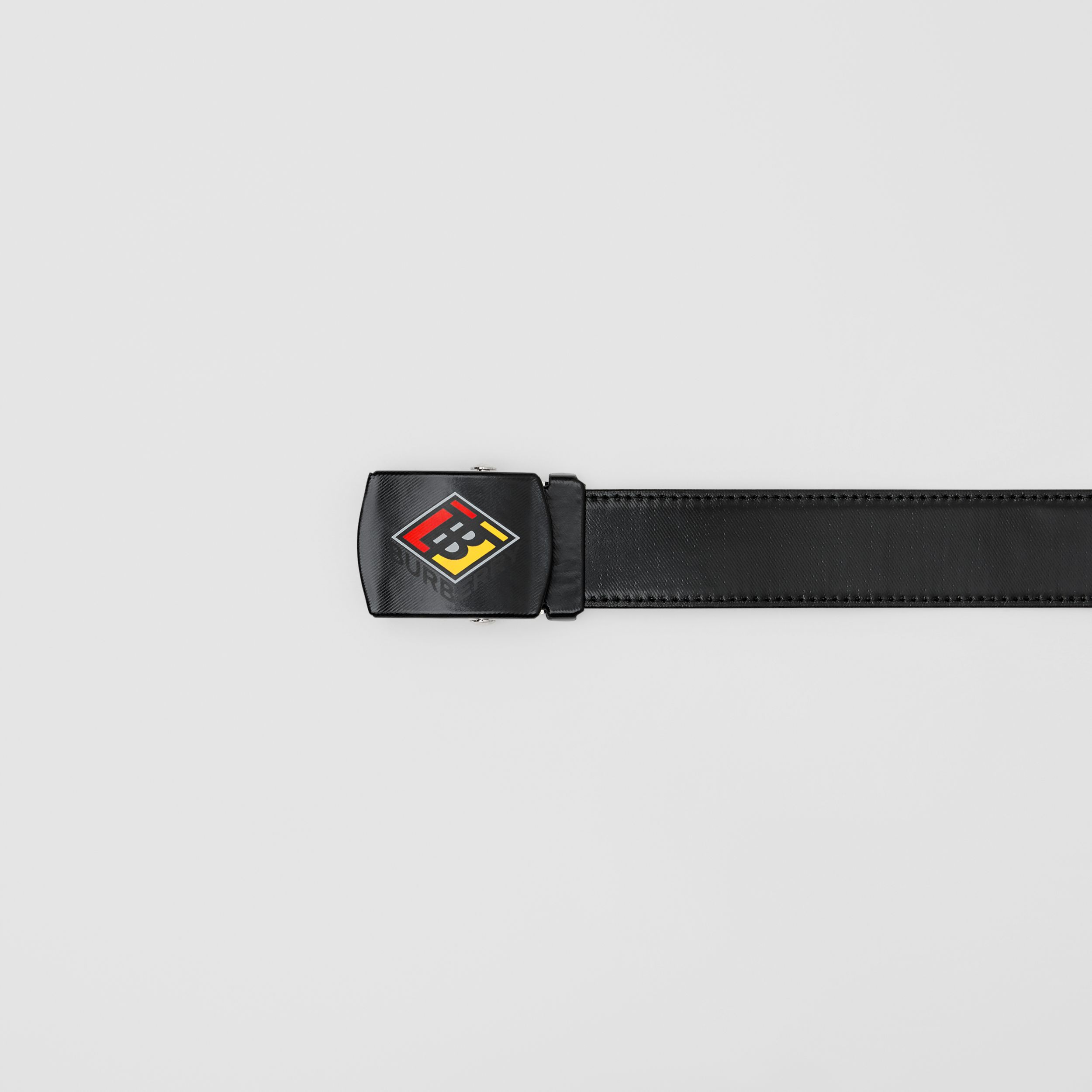 Logo Graphic Plaque Buckle Canvas Belt in Black | Burberry - 2