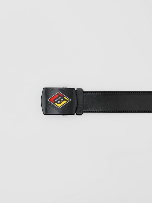 Logo Graphic Plaque Buckle Canvas Belt in Black - Men | Burberry - cell image 1