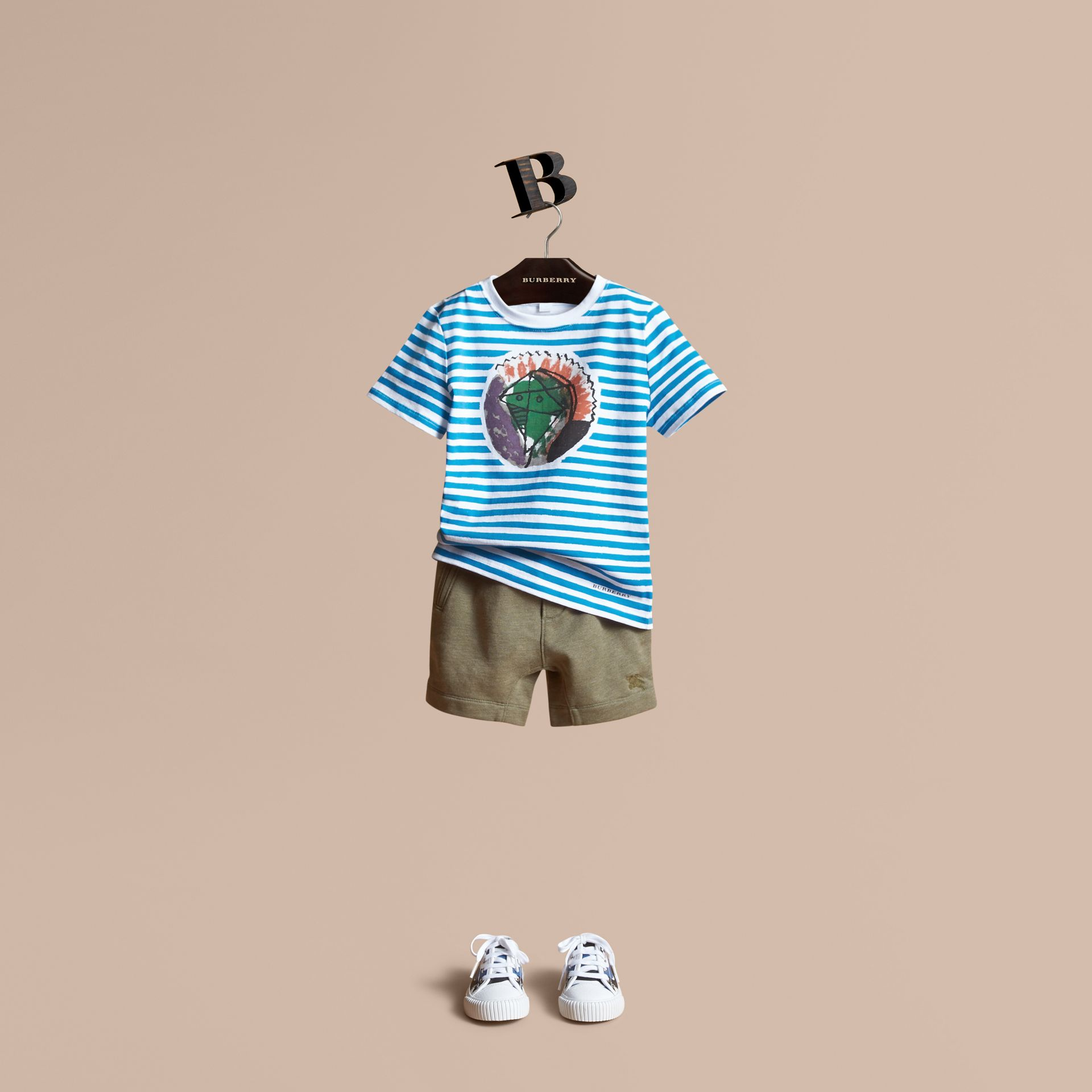 Pallas Heads Print Striped Cotton T-shirt in White - Boy | Burberry - gallery image 1
