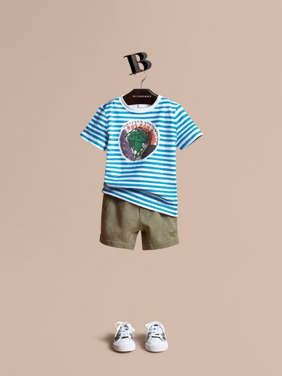 Pallas Heads Print Striped Cotton T-shirt - Boy | Burberry Hong Kong
