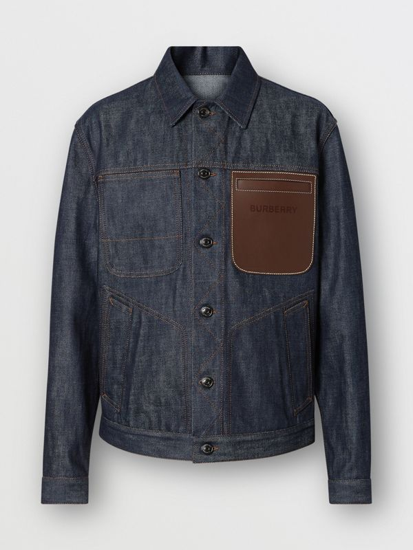 Leather Detail Japanese Selvedge Denim Jacket in Mid Indigo Blue - Men | Burberry - cell image 3