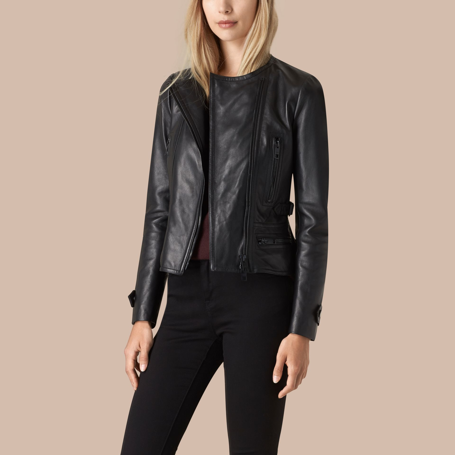 Black Nappa Leather Biker Jacket - gallery image 4