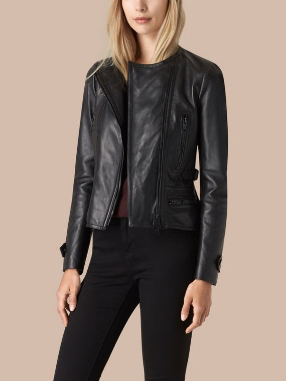 Black Nappa Leather Biker Jacket - cell image 3