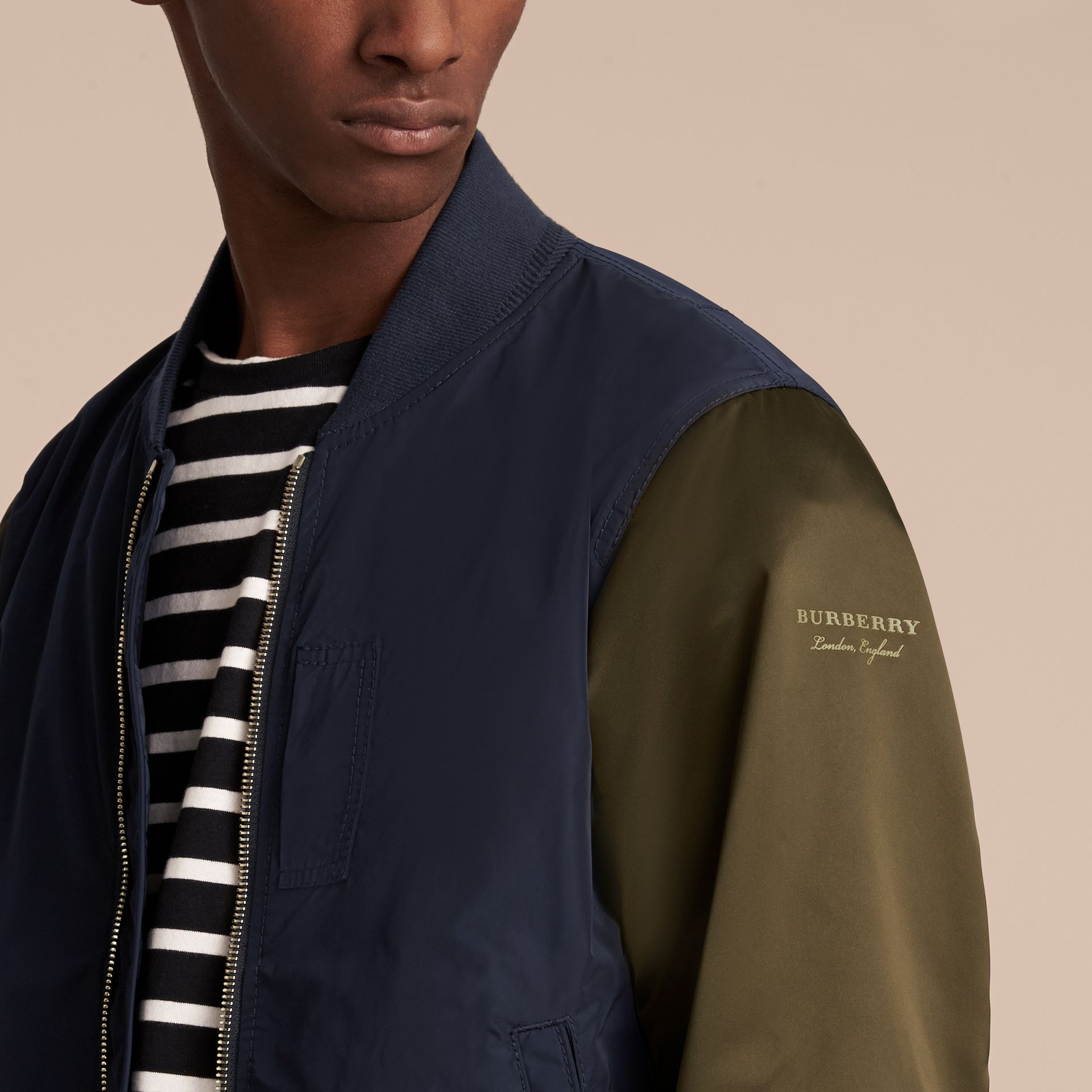 Two-tone Shape-memory Taffeta Bomber Jacket in Ink - Men | Burberry - gallery image 5