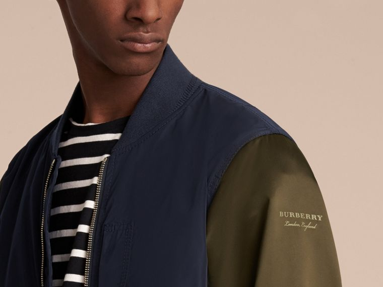 Two-tone Shape-memory Taffeta Bomber Jacket in Ink - Men | Burberry - cell image 4