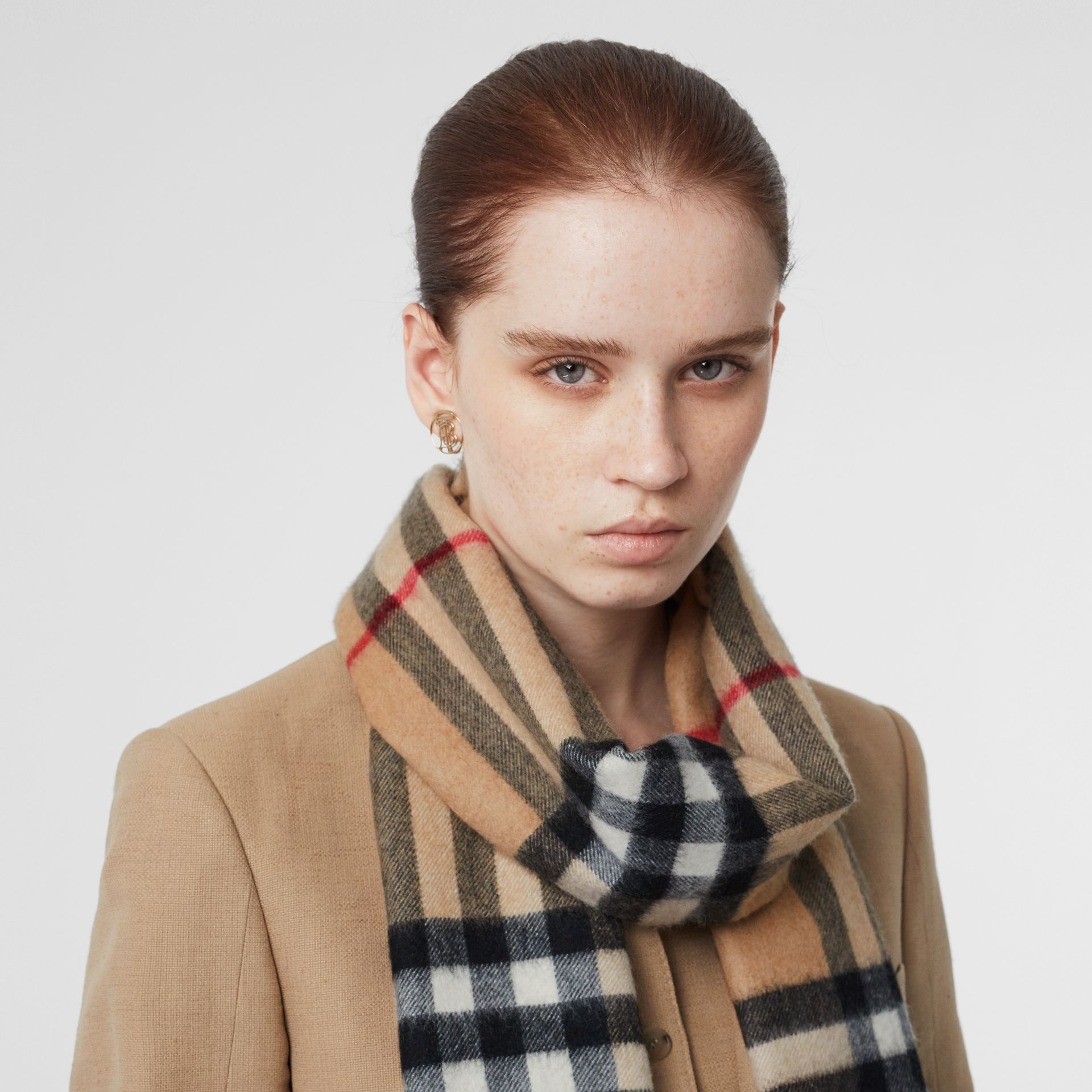 The Classic Check Cashmere Scarf in Camel | Burberry United States - gallery image 2