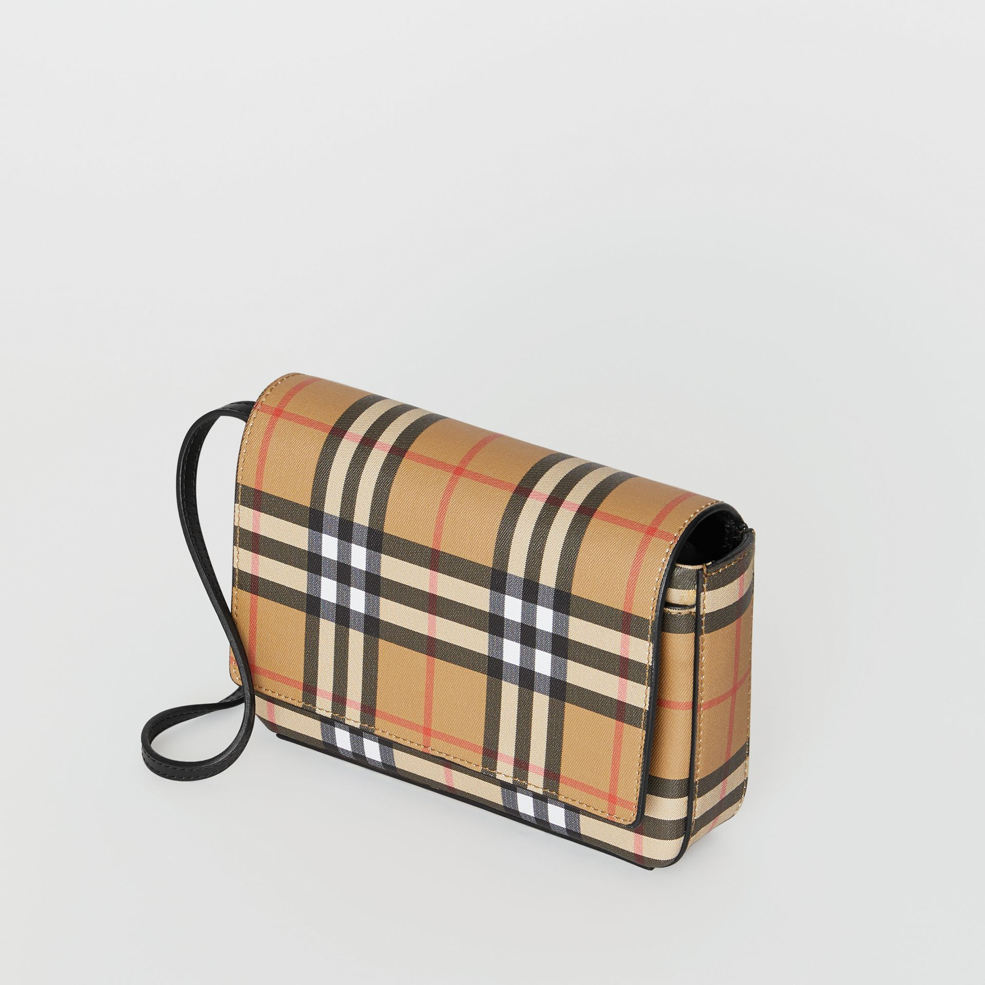 Small Vintage Check and Leather Crossbody Bag in Black - Women | Burberry - gallery image 3