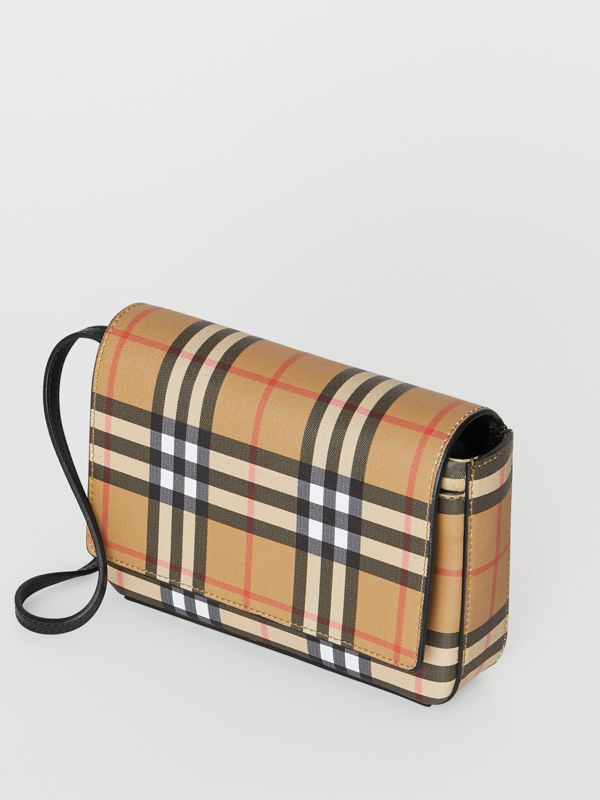 Vintage Check and Leather Wallet with Detachable Strap in Black - Women | Burberry - cell image 3