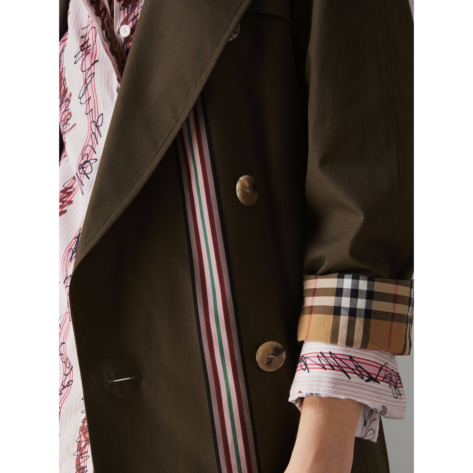 Striped Ribbon Gabardine Oversized Trench Coat in Olive - Women | Burberry - gallery image 1