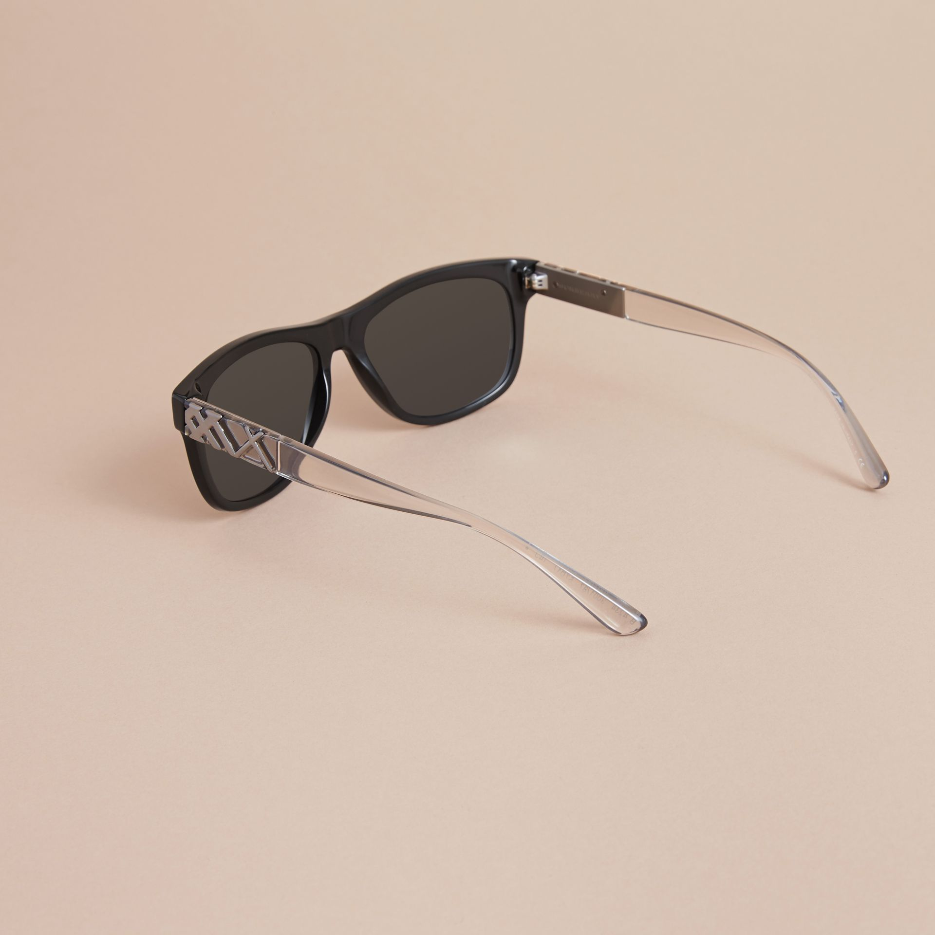 Check Detail Square Frame Sunglasses in Black - Men | Burberry - gallery image 4