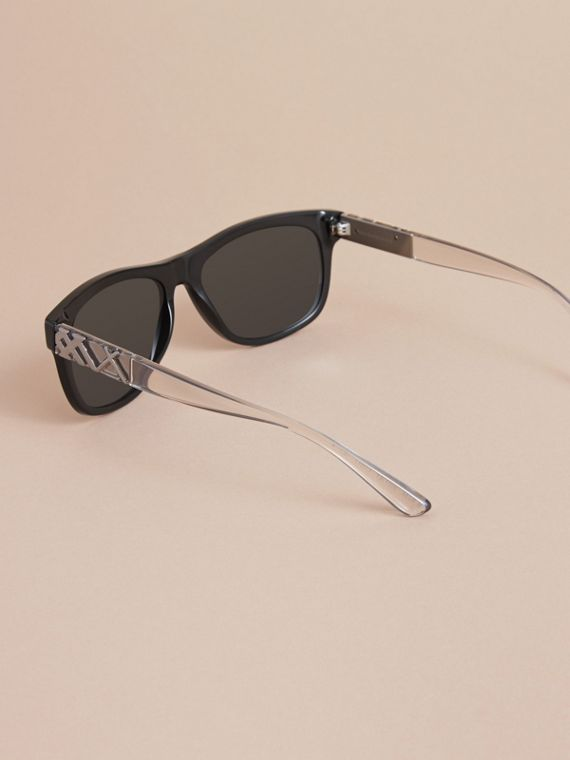 Check Detail Square Frame Sunglasses in Black - Men | Burberry - cell image 3