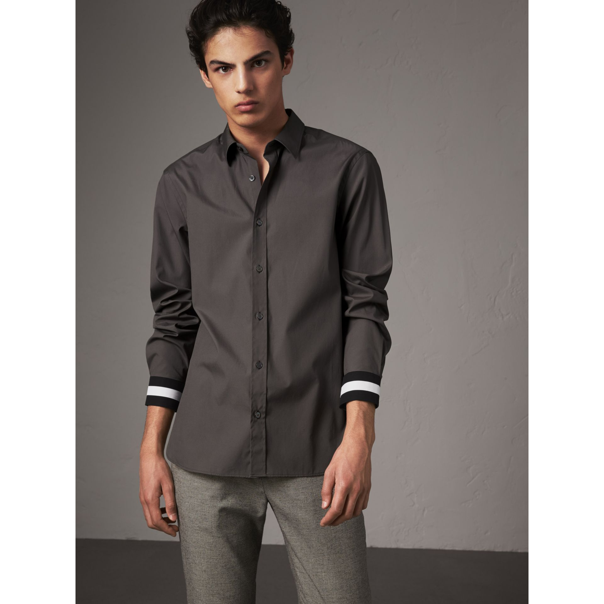 Striped Cuff Stretch Cotton Shirt in Stone Grey - Men | Burberry United States - gallery image 1