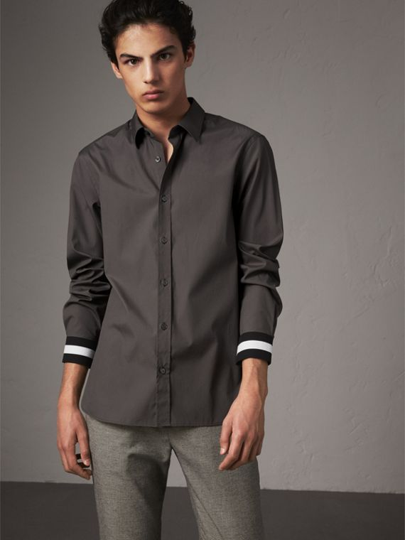 Striped Cuff Stretch Cotton Shirt in Stone Grey