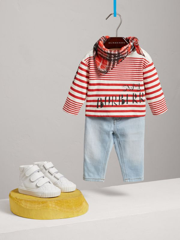 Long-sleeve SW1 Print Cotton Top in Bright Red/natural White - Children | Burberry - cell image 2